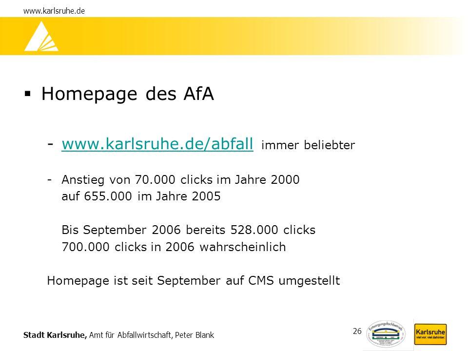 Stadt Karlsruhe, Amt für Abfallwirtschaft, Peter Blank www.karlsruhe.de 26 Homepage des AfA -www.karlsruhe.de/abfall immer beliebterwww.karlsruhe.de/a