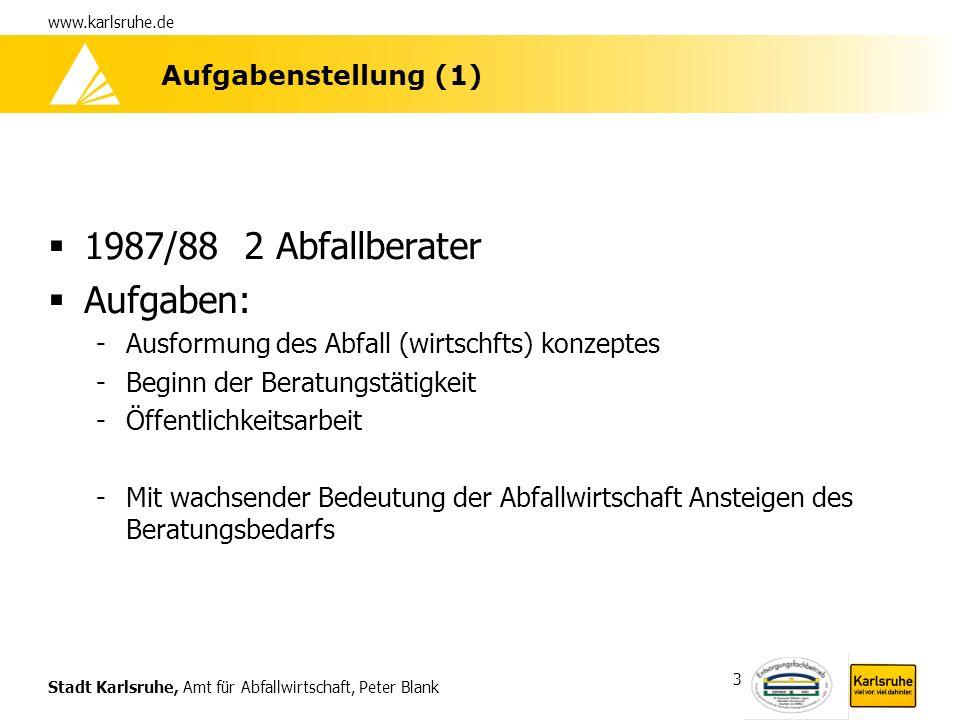 Stadt Karlsruhe, Amt für Abfallwirtschaft, Peter Blank www.karlsruhe.de 3 Aufgabenstellung (1) 1987/88 2 Abfallberater Aufgaben: -Ausformung des Abfal