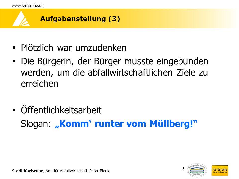 Stadt Karlsruhe, Amt für Abfallwirtschaft, Peter Blank www.karlsruhe.de 26 Homepage des AfA -www.karlsruhe.de/abfall immer beliebterwww.karlsruhe.de/abfall -Anstieg von 70.000 clicks im Jahre 2000 auf 655.000 im Jahre 2005 Bis September 2006 bereits 528.000 clicks 700.000 clicks in 2006 wahrscheinlich Homepage ist seit September auf CMS umgestellt