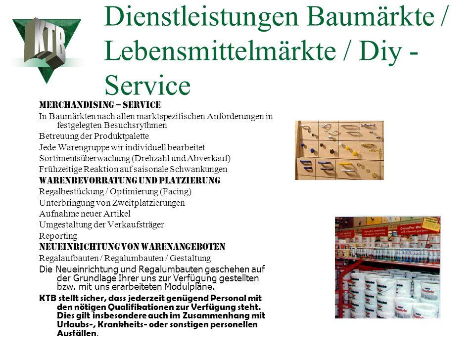Dienstleistungen Baumärkte / Lebensmittelmärkte / Diy - Service 24 Std. Einräumservice / Regalpflege Marktumbauten / Bausteinoptimierungen / Neueinric