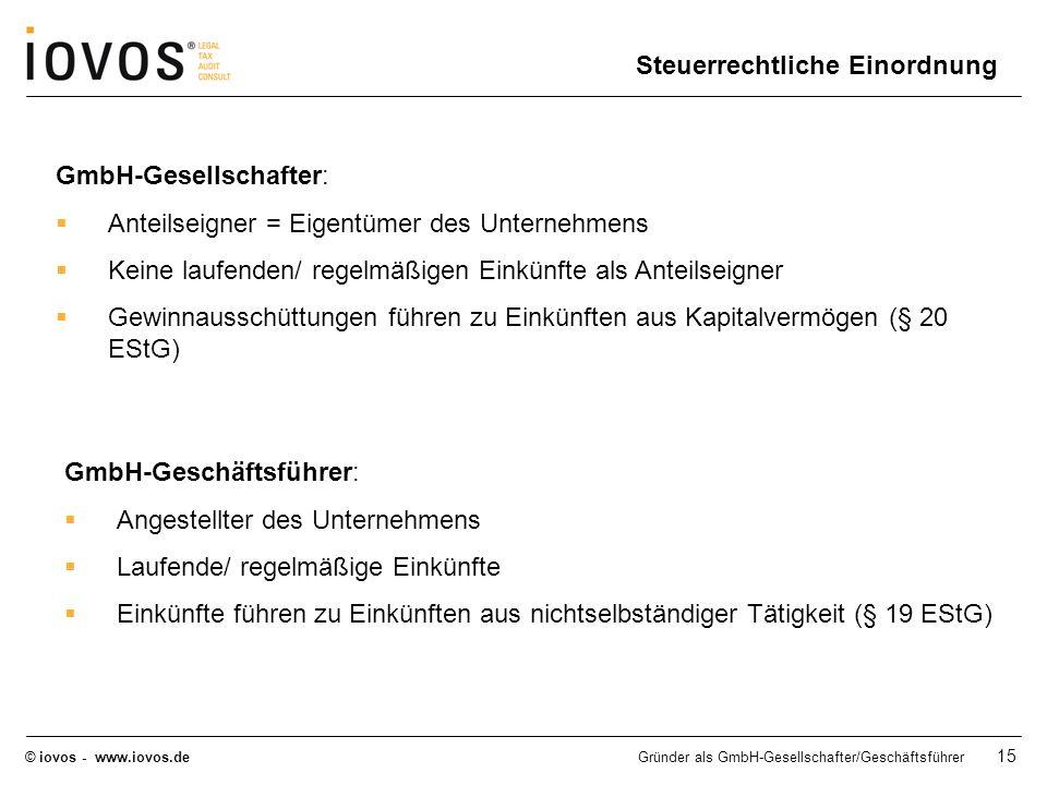 © iovos - www.iovos.deGründer als GmbH-Gesellschafter/Geschäftsführer 15 GmbH-Gesellschafter: Anteilseigner = Eigentümer des Unternehmens Keine laufen