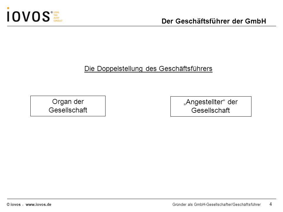 © iovos - www.iovos.deGründer als GmbH-Gesellschafter/Geschäftsführer 15 GmbH-Gesellschafter: Anteilseigner = Eigentümer des Unternehmens Keine laufenden/ regelmäßigen Einkünfte als Anteilseigner Gewinnausschüttungen führen zu Einkünften aus Kapitalvermögen (§ 20 EStG) GmbH-Geschäftsführer: Angestellter des Unternehmens Laufende/ regelmäßige Einkünfte Einkünfte führen zu Einkünften aus nichtselbständiger Tätigkeit (§ 19 EStG) Steuerrechtliche Einordnung