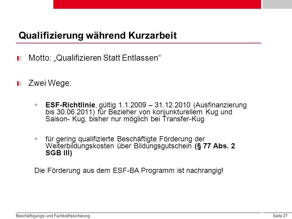 Seite 27 Beschäftigungs- und Fachkräftesicherung Motto: Qualifizieren Statt Entlassen Zwei Wege: ESF-Richtlinie, gültig 1.1.2009 – 31.12.2010 (Ausfina