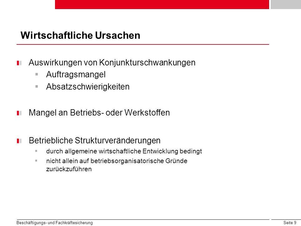 Seite 9 Beschäftigungs- und Fachkräftesicherung Wirtschaftliche Ursachen Auswirkungen von Konjunkturschwankungen Auftragsmangel Absatzschwierigkeiten