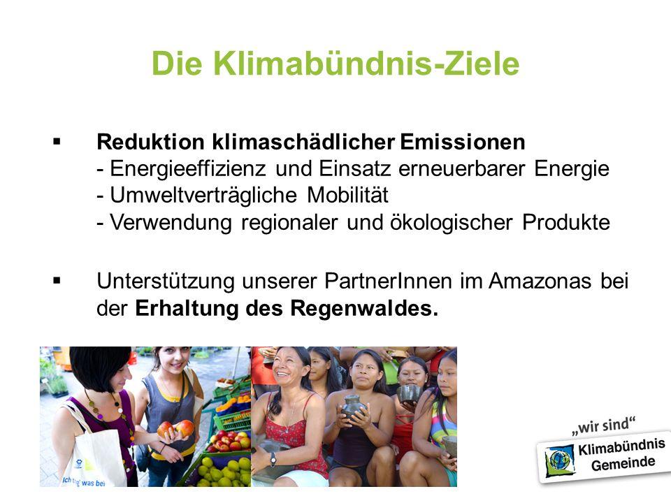 4 Die Klimabündnis-Ziele Reduktion klimaschädlicher Emissionen - Energieeffizienz und Einsatz erneuerbarer Energie - Umweltverträgliche Mobilität - Ve