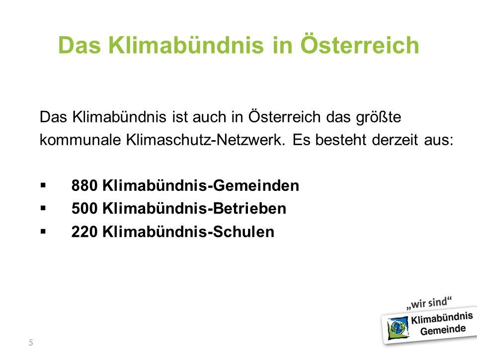 5 Das Klimabündnis in Österreich Das Klimabündnis ist auch in Österreich das größte kommunale Klimaschutz-Netzwerk. Es besteht derzeit aus: 880 Klimab