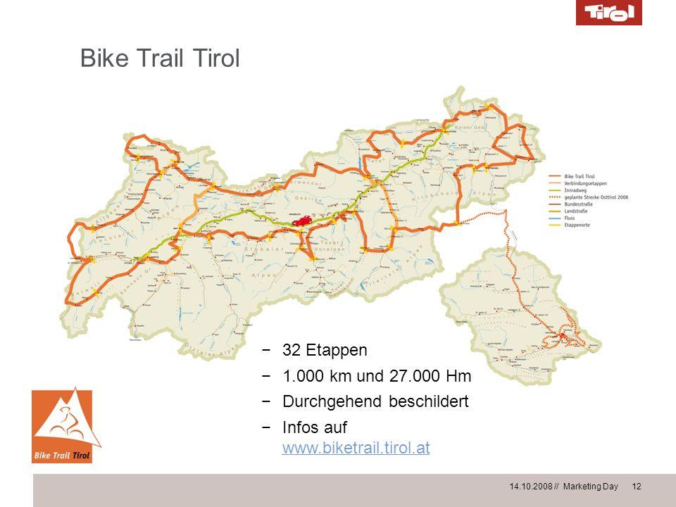 14.10.2008 // Marketing Day 12 Bike Trail Tirol 32 Etappen 1.000 km und 27.000 Hm Durchgehend beschildert Infos auf www.biketrail.tirol.at www.biketra