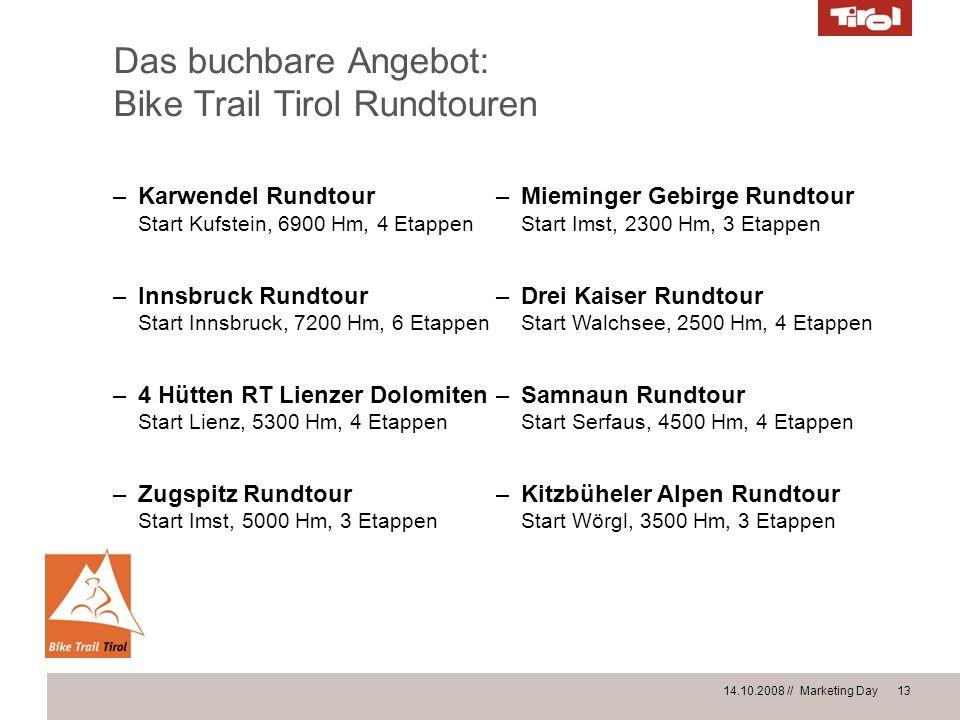 14.10.2008 // Marketing Day 13 Das buchbare Angebot: Bike Trail Tirol Rundtouren –Karwendel Rundtour Start Kufstein, 6900 Hm, 4 Etappen –Innsbruck Run