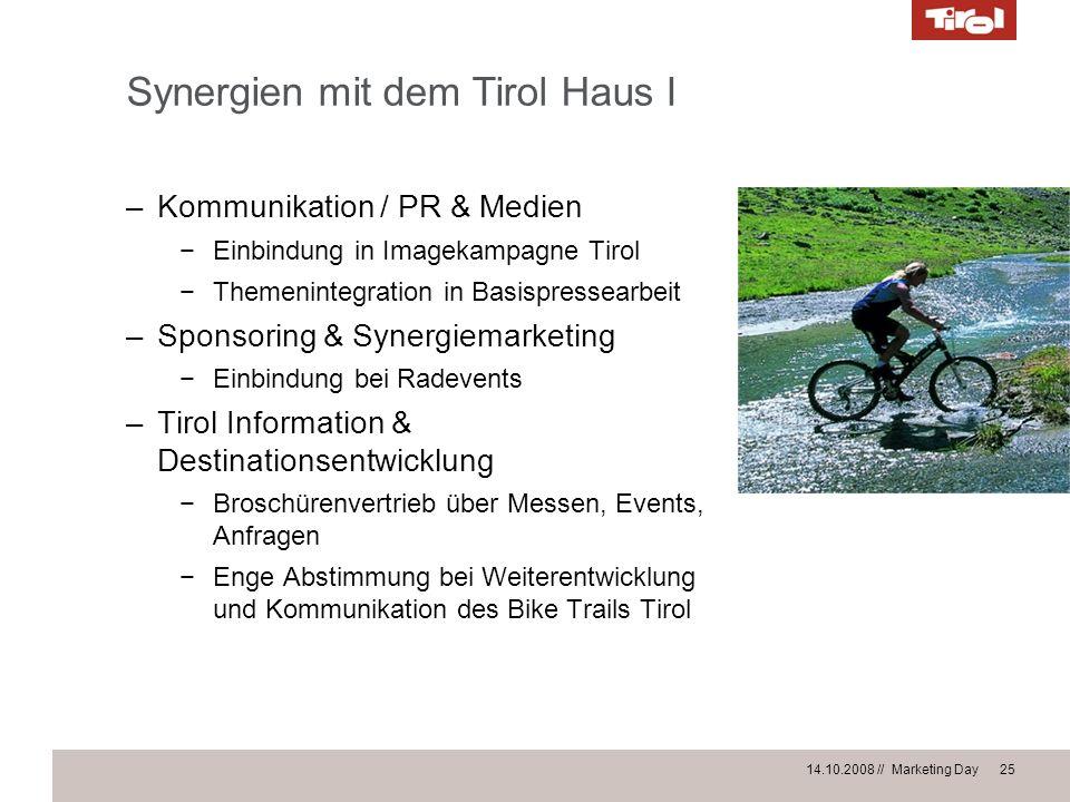 14.10.2008 // Marketing Day 25 Synergien mit dem Tirol Haus I –Kommunikation / PR & Medien Einbindung in Imagekampagne Tirol Themenintegration in Basi