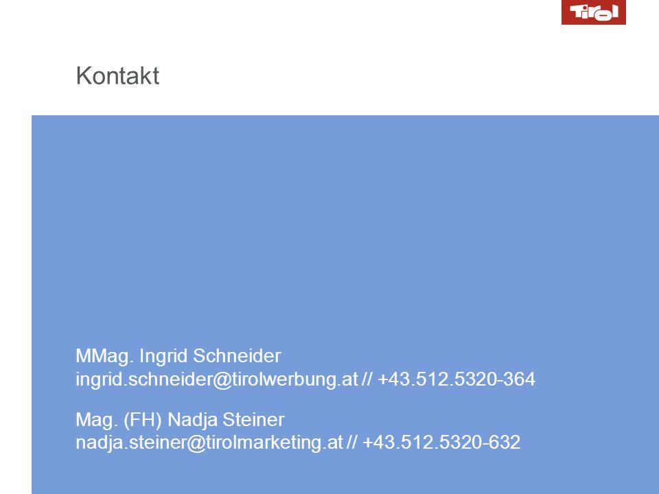 14.10.2008 // Marketing Day 29 Kontakt MMag. Ingrid Schneider ingrid.schneider@tirolwerbung.at // +43.512.5320-364 Mag. (FH) Nadja Steiner nadja.stein