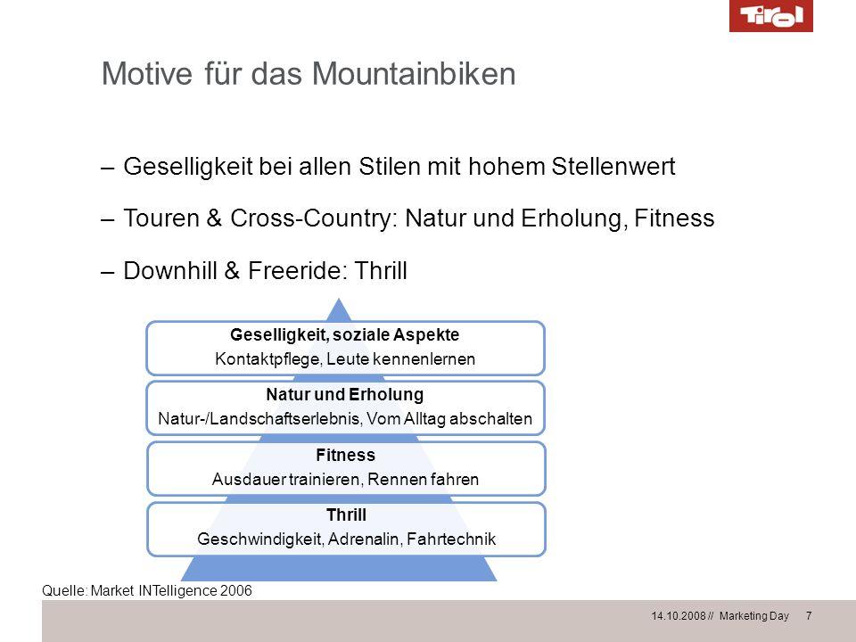 14.10.2008 // Marketing Day 7 Motive für das Mountainbiken –Geselligkeit bei allen Stilen mit hohem Stellenwert –Touren & Cross-Country: Natur und Erh