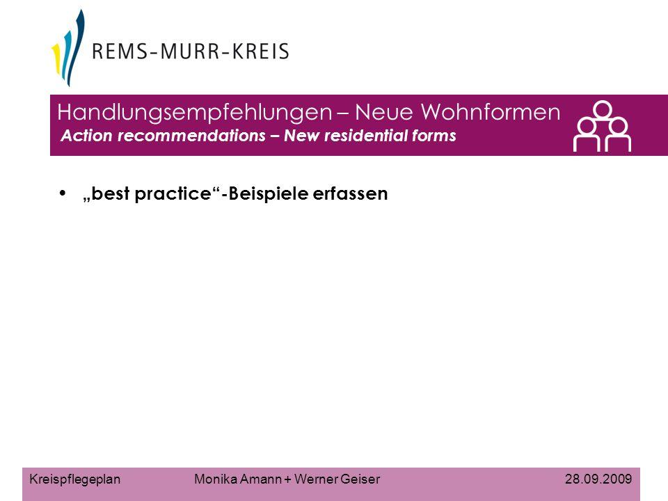 Kreispflegeplan Monika Amann + Werner Geiser 28.09.2009 Handlungsempfehlungen – Neue Wohnformen Action recommendations – New residential forms best practice-Beispiele erfassen
