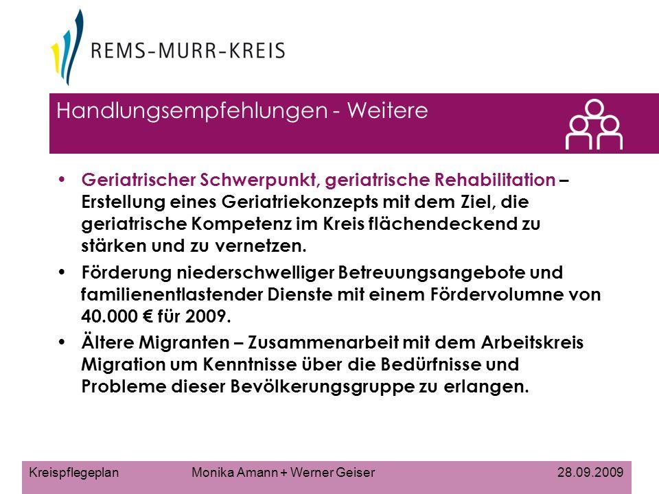 Kreispflegeplan Monika Amann + Werner Geiser 28.09.2009 Handlungsempfehlungen - Weitere Geriatrischer Schwerpunkt, geriatrische Rehabilitation – Erstellung eines Geriatriekonzepts mit dem Ziel, die geriatrische Kompetenz im Kreis flächendeckend zu stärken und zu vernetzen.