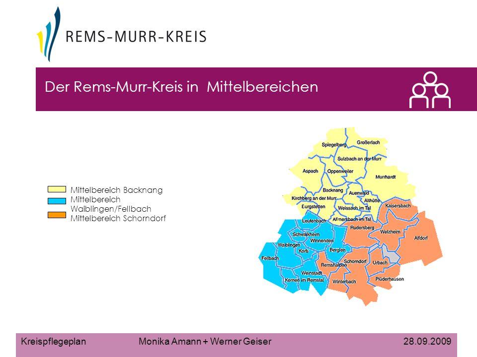 Kreispflegeplan Monika Amann + Werner Geiser 28.09.2009 Der Rems-Murr-Kreis in Mittelbereichen Mittelbereich Backnang Mittelbereich Waiblingen/Fellbach Mittelbereich Schorndorf