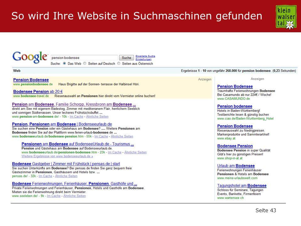 Seite 43 So wird Ihre Website in Suchmaschinen gefunden