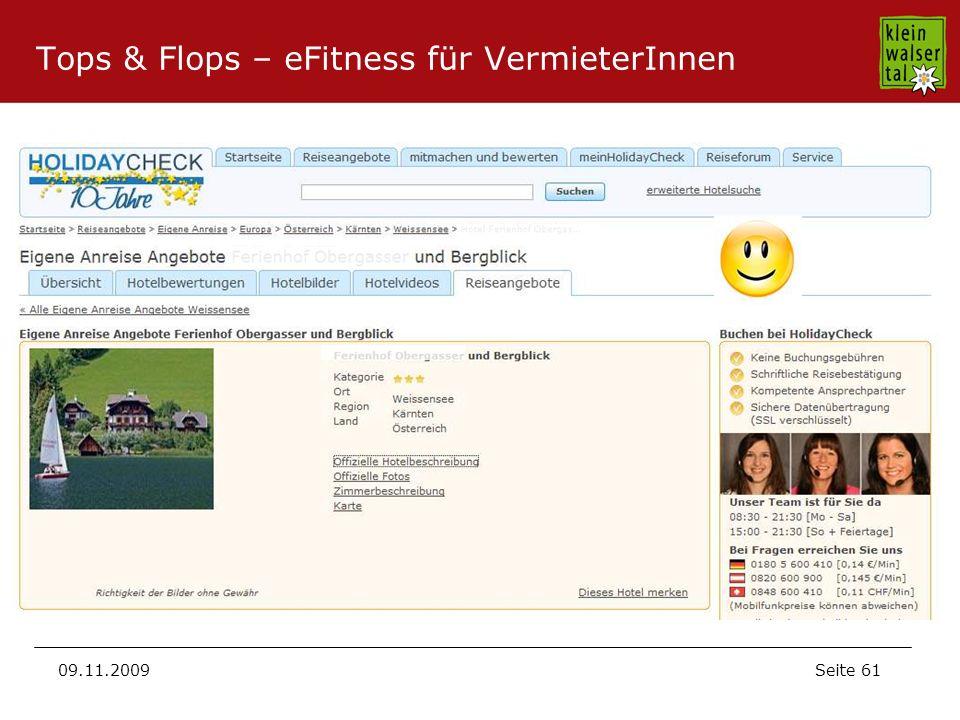 Seite 61 09.11.2009 Tops & Flops – eFitness für VermieterInnen