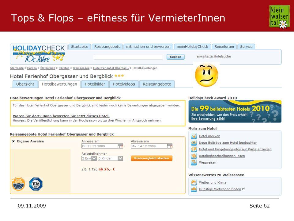Seite 62 09.11.2009 Tops & Flops – eFitness für VermieterInnen