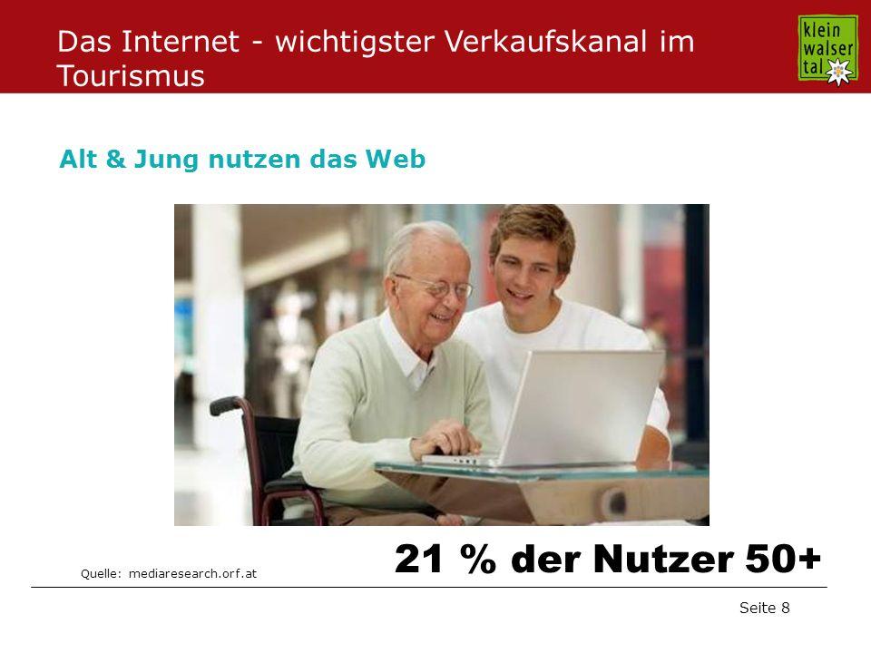 Seite 8 Alt & Jung nutzen das Web Quelle: mediaresearch.orf.at 21 % der Nutzer 50+ Das Internet - wichtigster Verkaufskanal im Tourismus