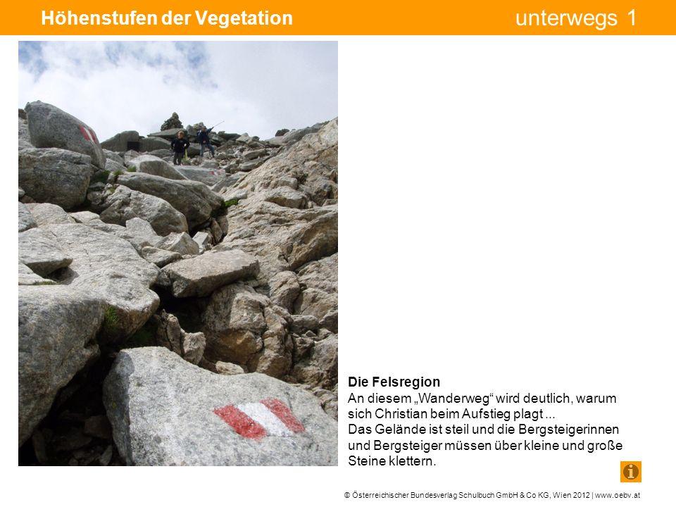 © Österreichischer Bundesverlag Schulbuch GmbH & Co KG, Wien 2012 | www.oebv.at unterwegs 1 Höhenstufen der Vegetation Die Felsregion An diesem Wanderweg wird deutlich, warum sich Christian beim Aufstieg plagt...