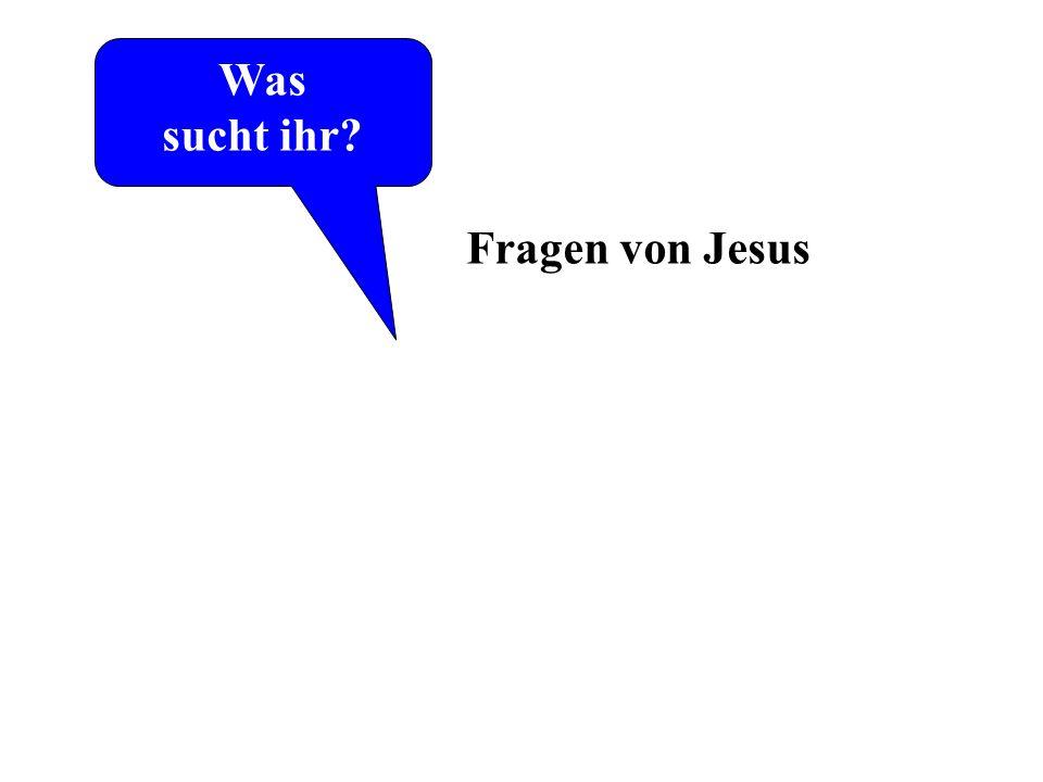 Was sucht ihr? Laut Johannes-Evangelium die ersten Worte von Jesus Fragen von Jesus