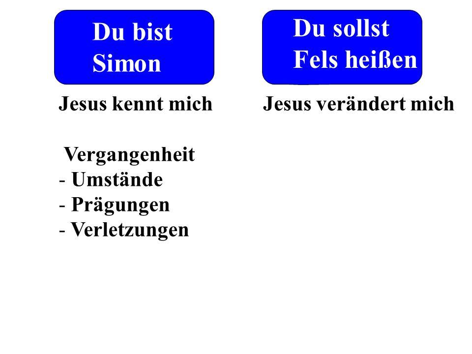 Du bist Simon Du sollst Fels heißen Jesus kennt mich Vergangenheit - Umstände - Prägungen - Verletzungen Jesus verändert mich