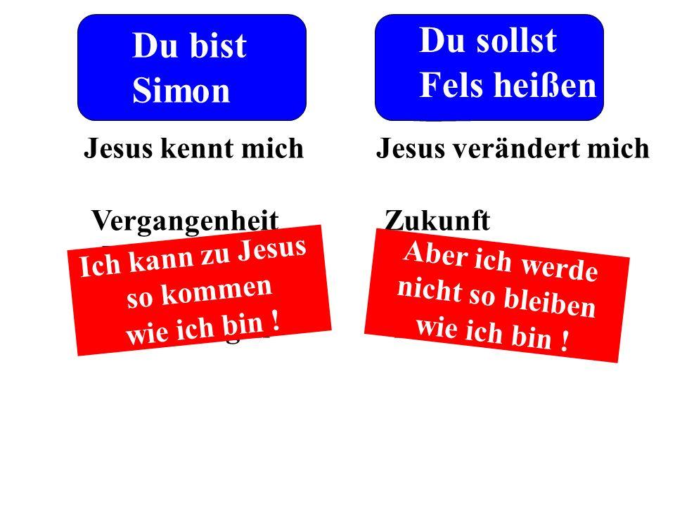 Du bist Simon Du sollst Fels heißen Jesus kennt mich Vergangenheit - Umstände - Prägungen - Verletzungen Jesus verändert mich Zukunft - Perspektive -