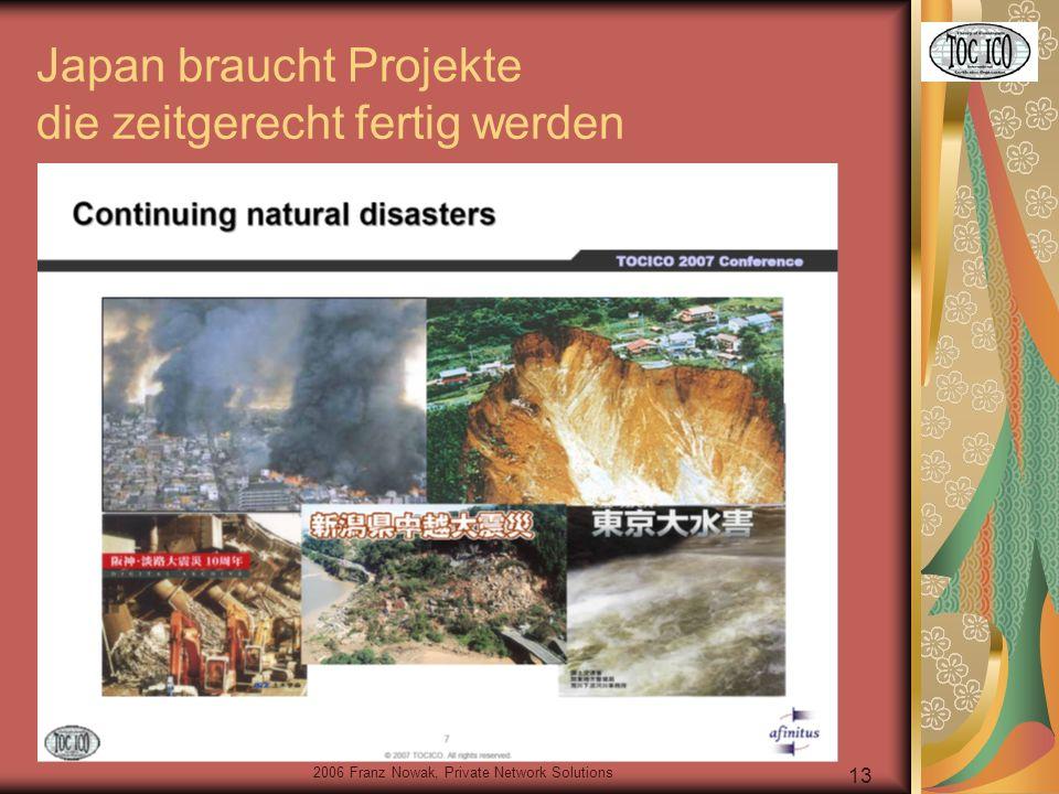 2006 Franz Nowak, Private Network Solutions 13 Japan braucht Projekte die zeitgerecht fertig werden