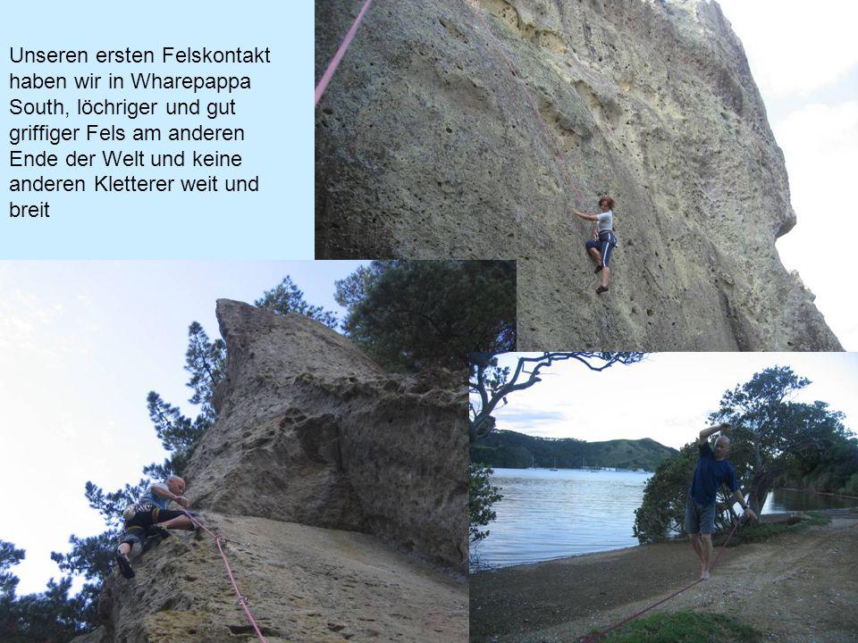 Unseren ersten Felskontakt haben wir in Wharepappa South, löchriger und gut griffiger Fels am anderen Ende der Welt und keine anderen Kletterer weit und breit