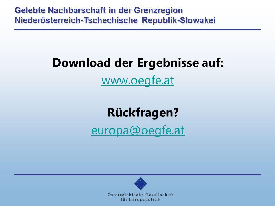 Download der Ergebnisse auf: www.oegfe.at Rückfragen.