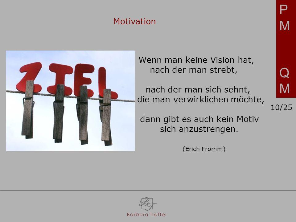PMQMPMQM Motivation Wenn man keine Vision hat, nach der man strebt, nach der man sich sehnt, die man verwirklichen möchte, dann gibt es auch kein Motiv sich anzustrengen.