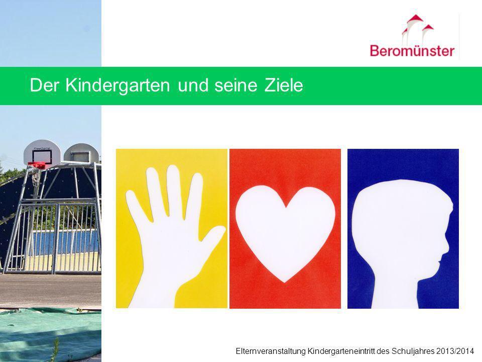 Der Kindergarten und seine Ziele Elternveranstaltung Kindergarteneintritt des Schuljahres 2013/2014