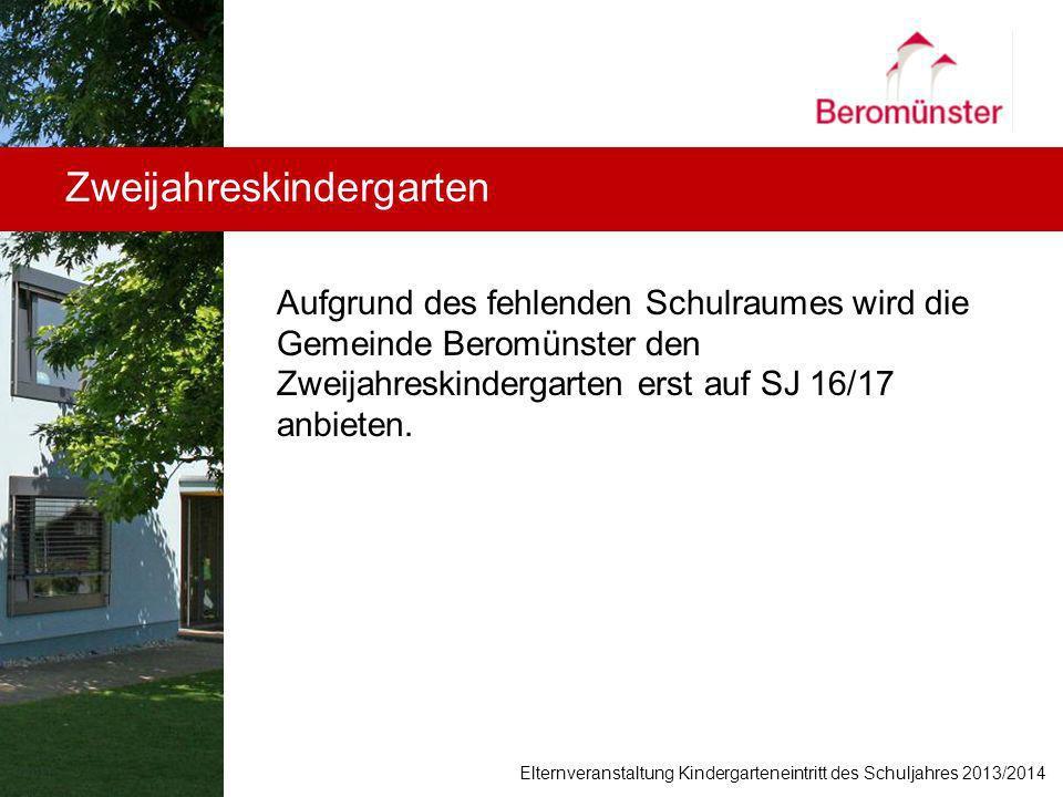 Aufgrund des fehlenden Schulraumes wird die Gemeinde Beromünster den Zweijahreskindergarten erst auf SJ 16/17 anbieten. Zweijahreskindergarten Elternv