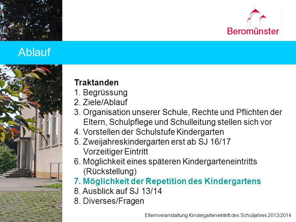 Ablauf Elternveranstaltung Kindergarteneintritt des Schuljahres 2013/2014 Traktanden 1. Begrüssung 2. Ziele/Ablauf 3. Organisation unserer Schule, Rec