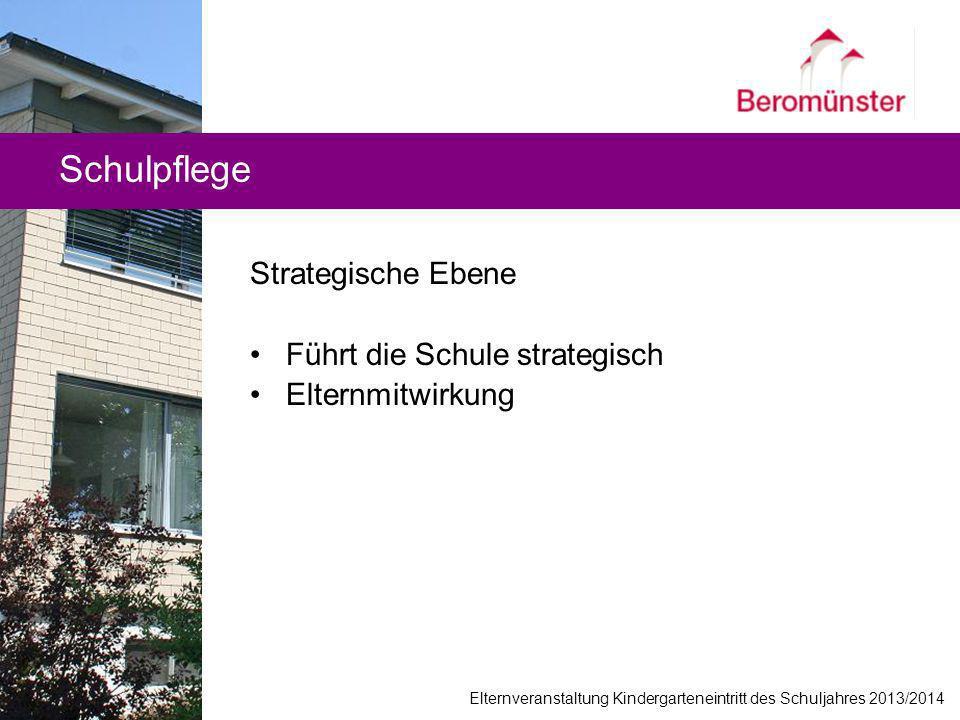 Schulpflege Strategische Ebene Führt die Schule strategisch Elternmitwirkung Elternveranstaltung Kindergarteneintritt des Schuljahres 2013/2014