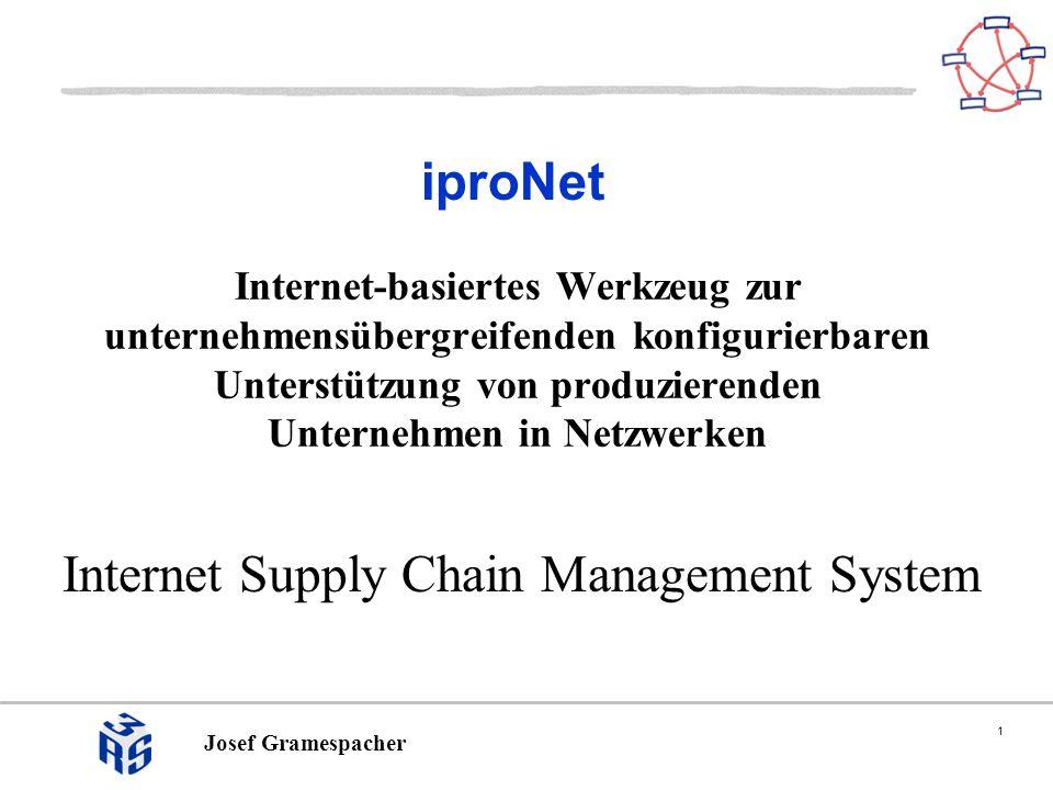 1 Josef Gramespacher iproNet Internet Supply Chain Management System Internet-basiertes Werkzeug zur unternehmensübergreifenden konfigurierbaren Unter