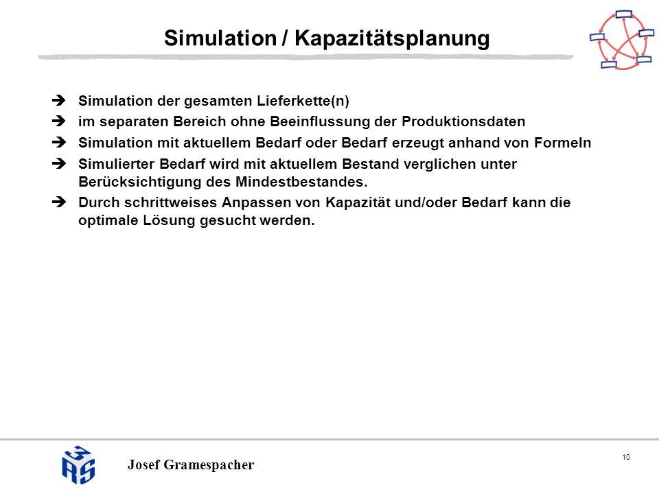 10 Josef Gramespacher Simulation / Kapazitätsplanung Simulation der gesamten Lieferkette(n) im separaten Bereich ohne Beeinflussung der Produktionsdaten Simulation mit aktuellem Bedarf oder Bedarf erzeugt anhand von Formeln Simulierter Bedarf wird mit aktuellem Bestand verglichen unter Berücksichtigung des Mindestbestandes.