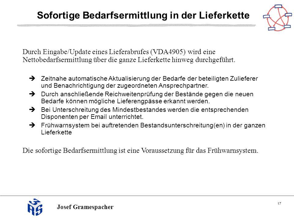 17 Josef Gramespacher Sofortige Bedarfsermittlung in der Lieferkette Durch Eingabe/Update eines Lieferabrufes (VDA4905) wird eine Nettobedarfsermittlung über die ganze Lieferkette hinweg durchgeführt.