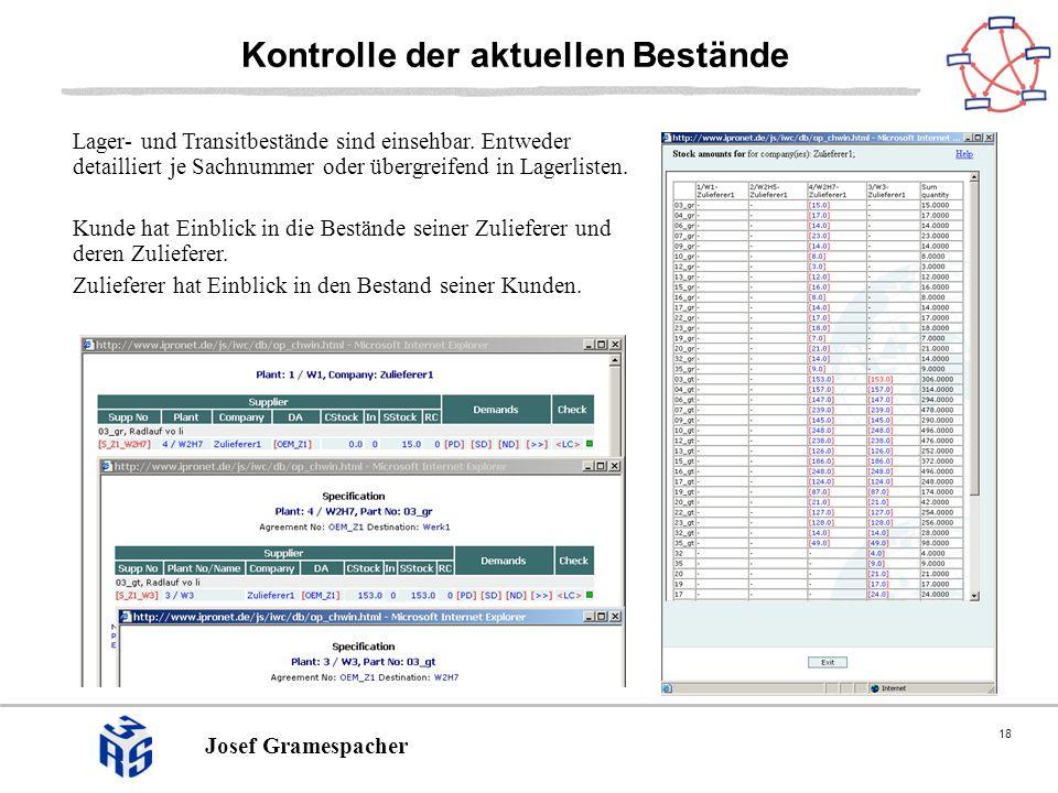 18 Josef Gramespacher Kontrolle der aktuellen Bestände Lager- und Transitbestände sind einsehbar. Entweder detailliert je Sachnummer oder übergreifend