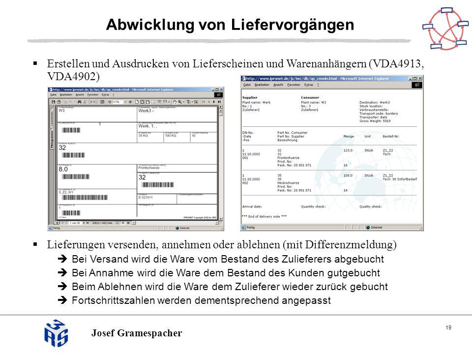 19 Josef Gramespacher Abwicklung von Liefervorgängen Erstellen und Ausdrucken von Lieferscheinen und Warenanhängern (VDA4913, VDA4902) Lieferungen ver
