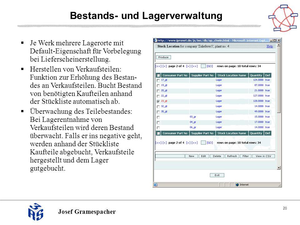 20 Josef Gramespacher Bestands- und Lagerverwaltung Je Werk mehrere Lagerorte mit Default-Eigenschaft für Vorbelegung bei Lieferscheinerstellung.