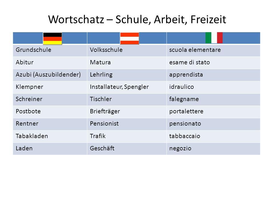 Wortschatz – Schule, Arbeit, Freizeit GrundschuleVolksschulescuola elementare AbiturMaturaesame di stato Azubi (Auszubildender)Lehrlingapprendista Kle