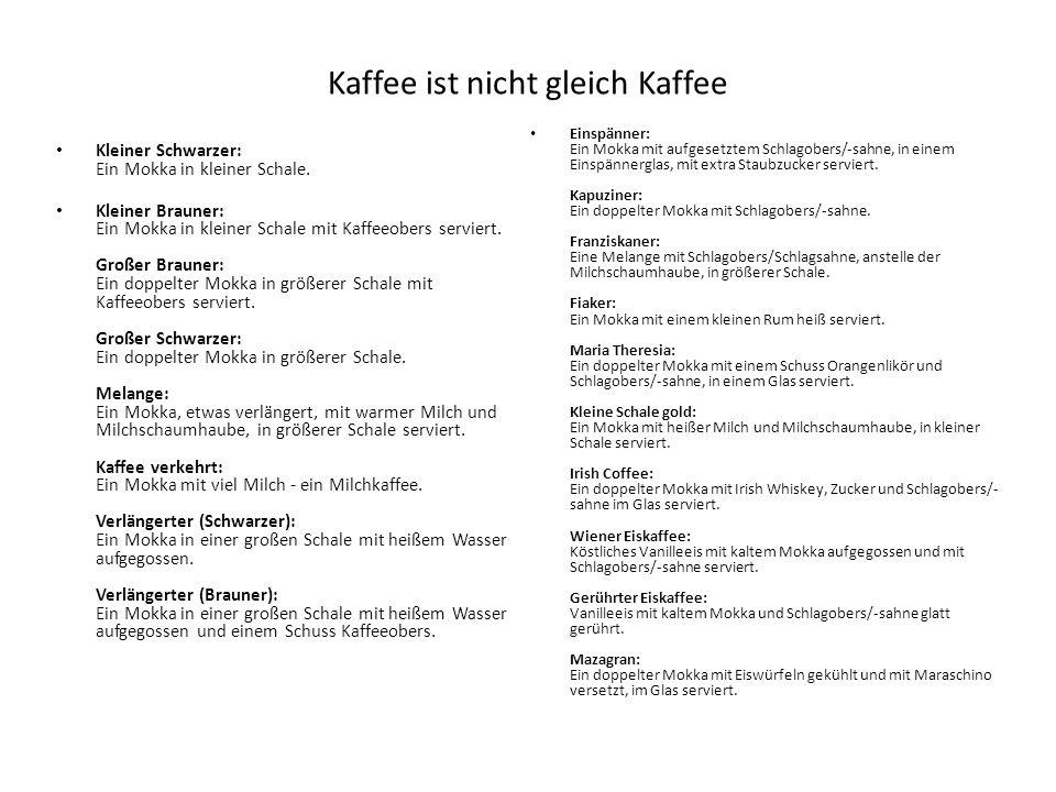 Kaffee ist nicht gleich Kaffee Kleiner Schwarzer: Ein Mokka in kleiner Schale. Kleiner Brauner: Ein Mokka in kleiner Schale mit Kaffeeobers serviert.
