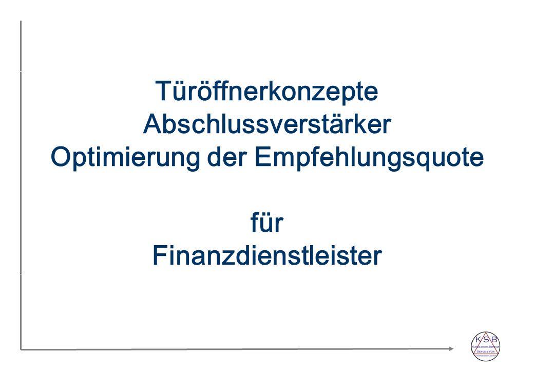 Türöffnerkonzepte Abschlussverstärker Optimierung der Empfehlungsquote für Finanzdienstleister