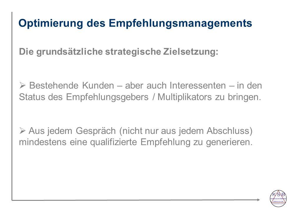 Optimierung des Empfehlungsmanagements Die grundsätzliche strategische Zielsetzung: Bestehende Kunden – aber auch Interessenten – in den Status des Empfehlungsgebers / Multiplikators zu bringen.