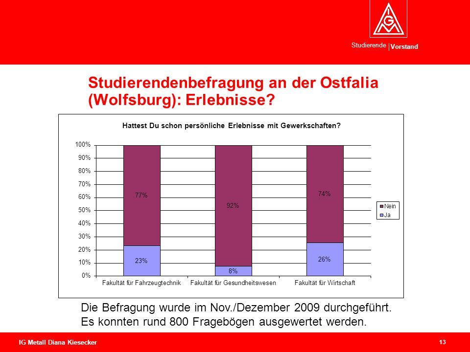 Vorstand Studierende 13 IG Metall Diana Kiesecker Studierendenbefragung an der Ostfalia (Wolfsburg): Erlebnisse? Die Befragung wurde im Nov./Dezember