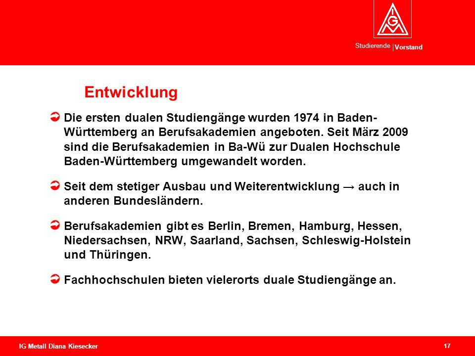 Vorstand Studierende 17 IG Metall Diana Kiesecker Entwicklung Die ersten dualen Studiengänge wurden 1974 in Baden- Württemberg an Berufsakademien ange
