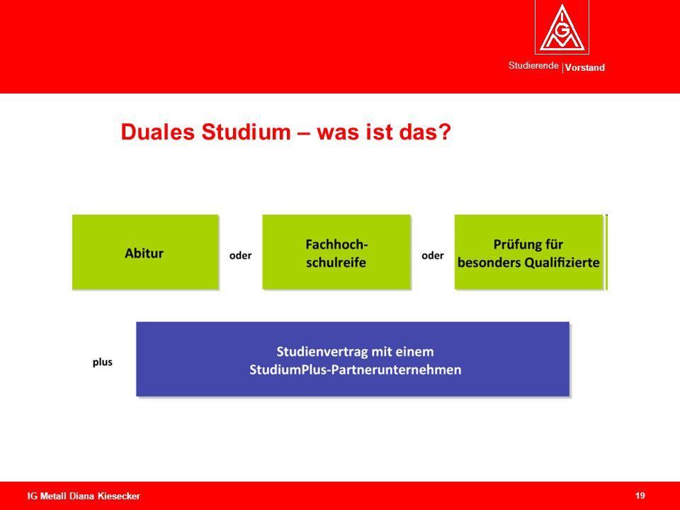 Vorstand Studierende 19 IG Metall Diana Kiesecker Duales Studium – was ist das?