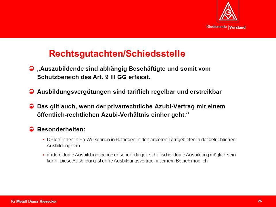Vorstand Studierende 26 IG Metall Diana Kiesecker Rechtsgutachten/Schiedsstelle Auszubildende sind abhängig Beschäftigte und somit vom Schutzbereich d
