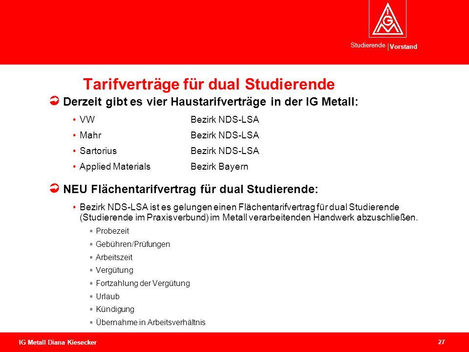 Vorstand Studierende 27 IG Metall Diana Kiesecker Tarifverträge für dual Studierende Derzeit gibt es vier Haustarifverträge in der IG Metall: VWBezirk
