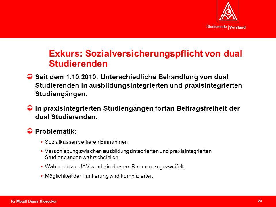 Vorstand Studierende 28 IG Metall Diana Kiesecker Exkurs: Sozialversicherungspflicht von dual Studierenden Seit dem 1.10.2010: Unterschiedliche Behand